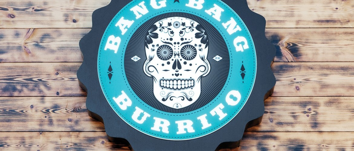 Exterior LED lit signage for Bang Bang Burrito