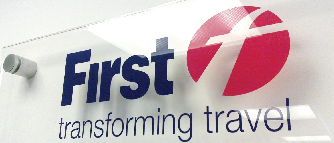 Internal acrylic wayfinding sign for First Buses
