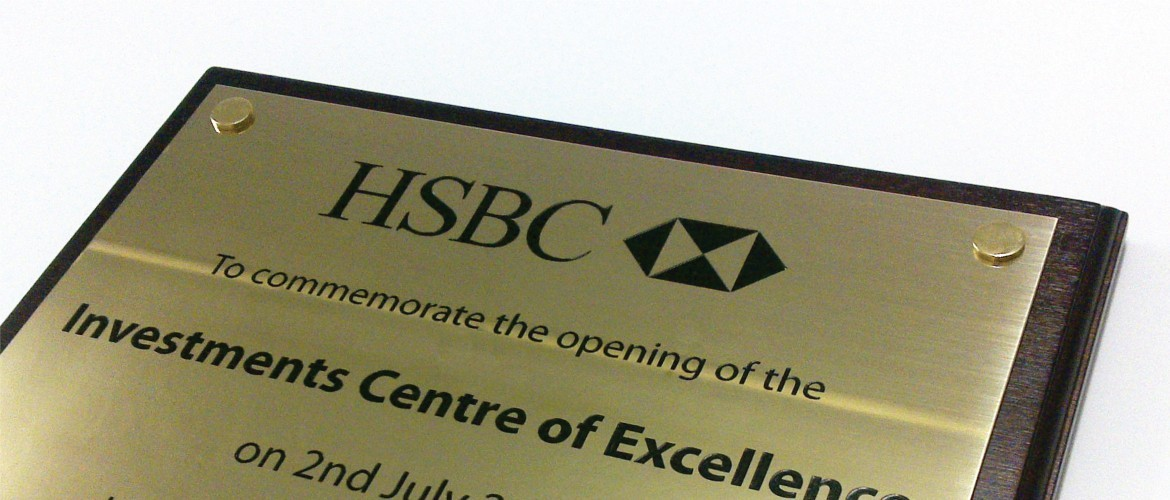 Exterior engraved plaque for HSBC