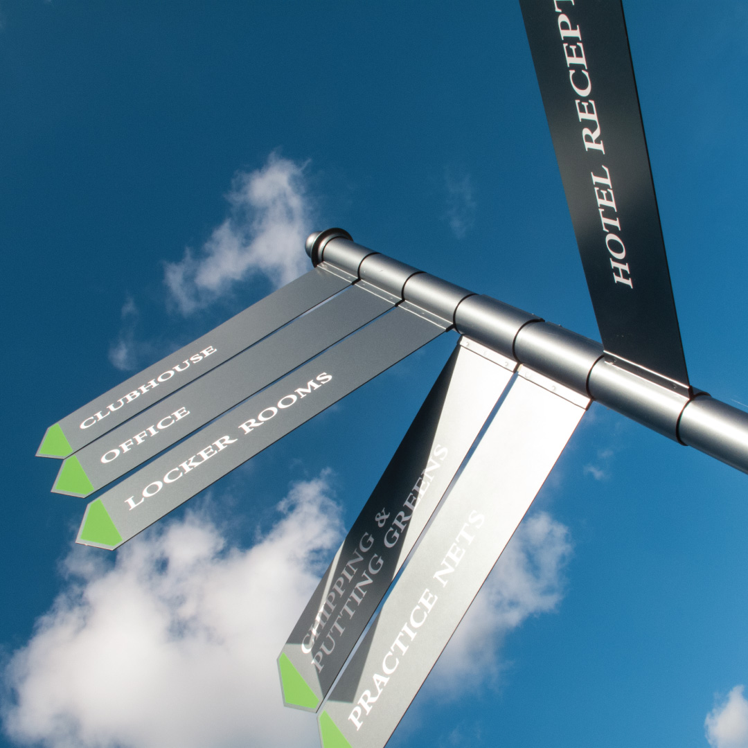 Way finding fingerpost sign for Bramshaw Golf club