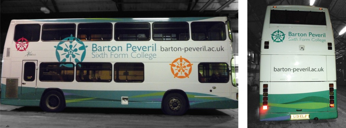 Half vehicle wrap on Barton Peveril bus for Xelabus