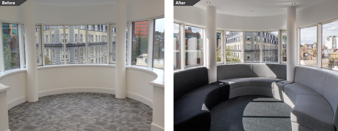 Before and After images office refurbishment bespoke furniture