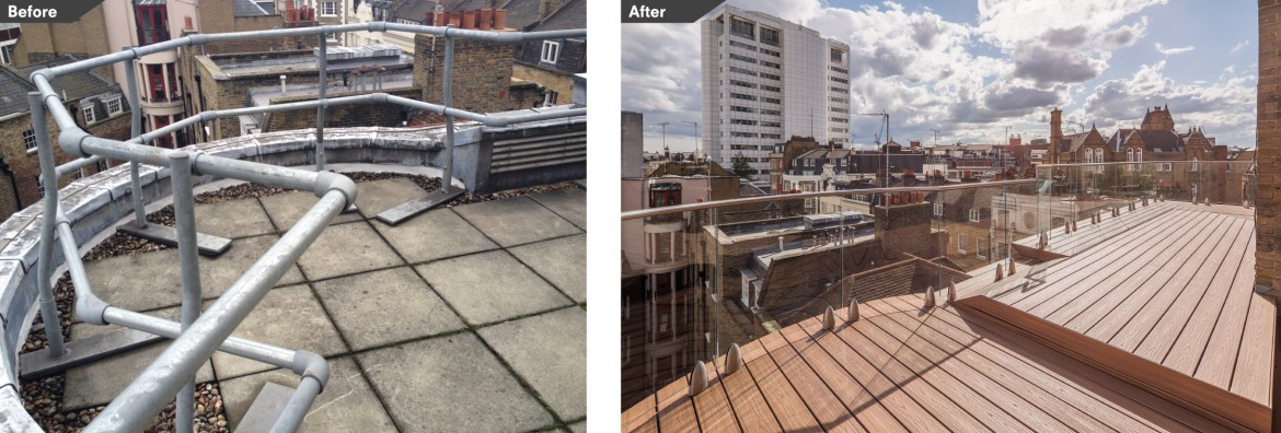 Before and after images roof terrace with bespoke lighting for office refurbishment.
