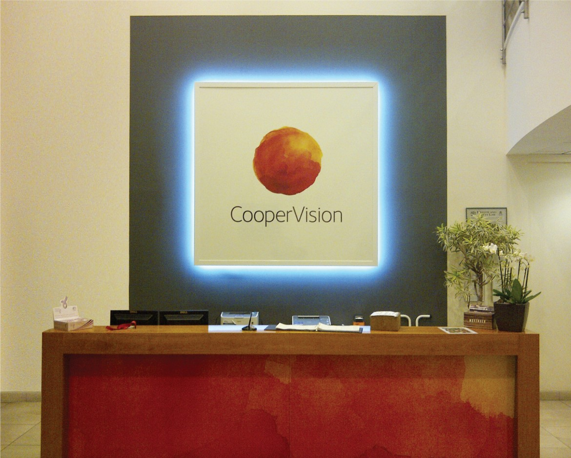 Bespoke LED lit reception sign for Coopervision