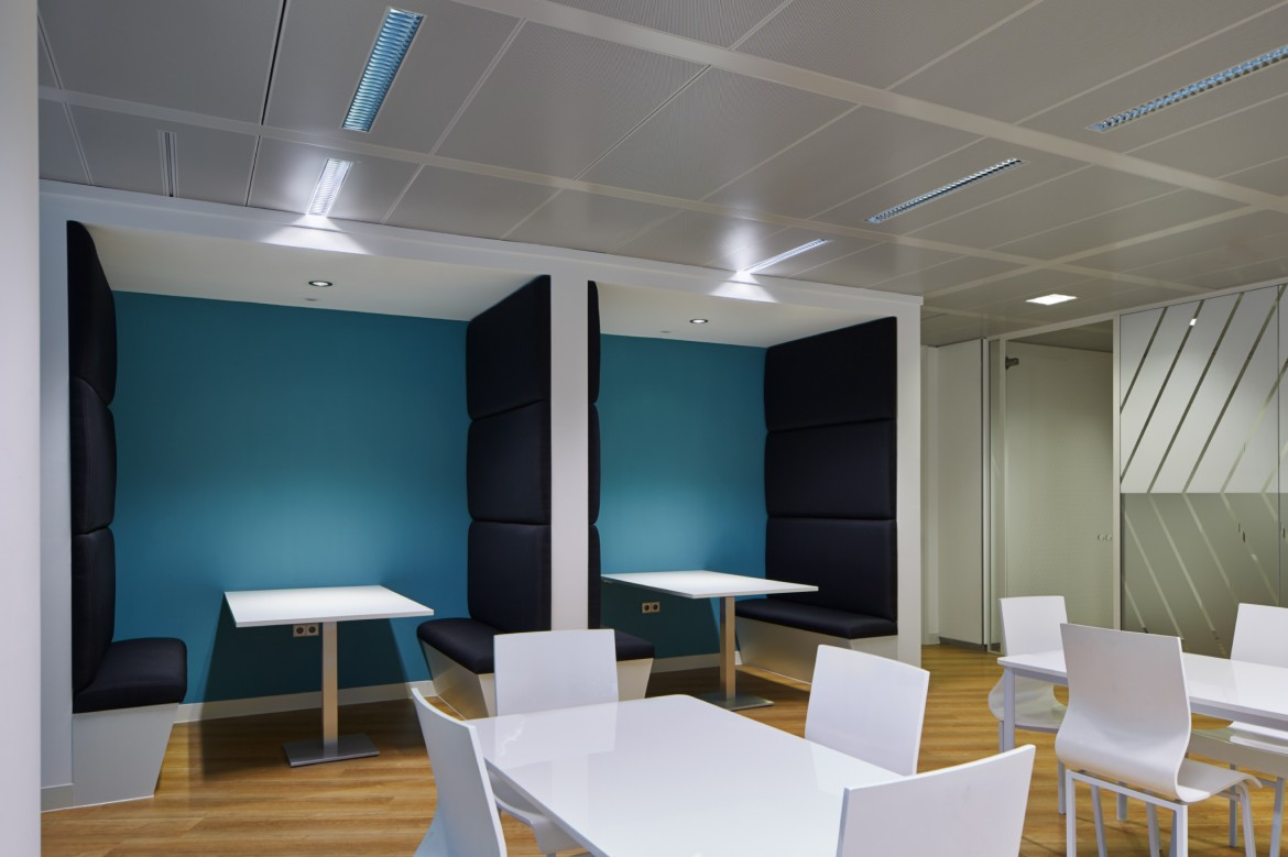 Completed office refurbishment breakout space