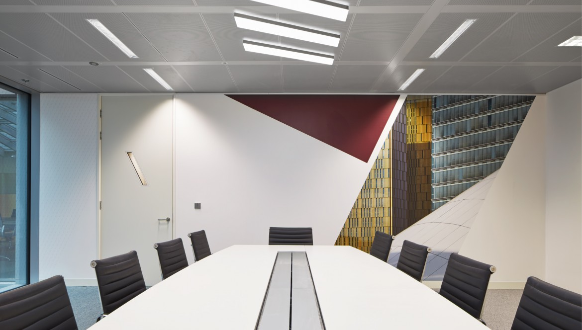 Completed office refurbishment with printed wall paper