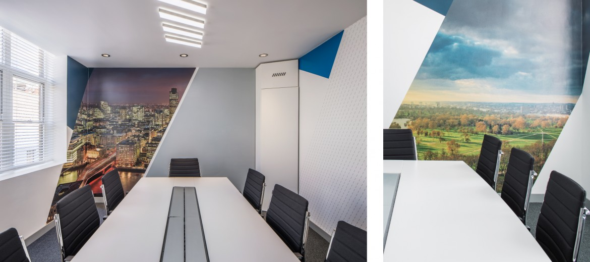 Decorbrand printed wall paper in meeting rooms for completed office refurbishment