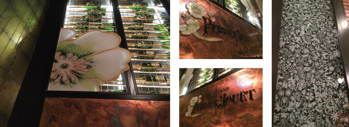Interior acrylic and copper signage and printed window film for Perrier Jouet