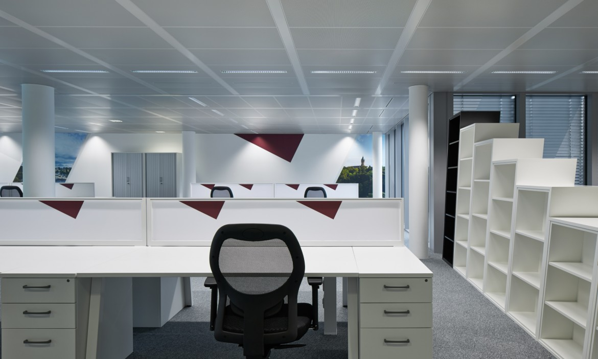 Completed office refurbishment with bespoke office furniture and printed wall paper