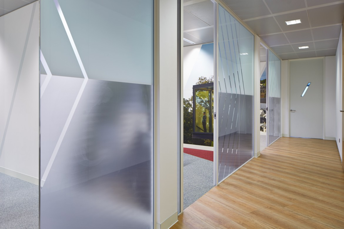 Completed office refurbishment with printed window film and wallpaper and bespoke detailing