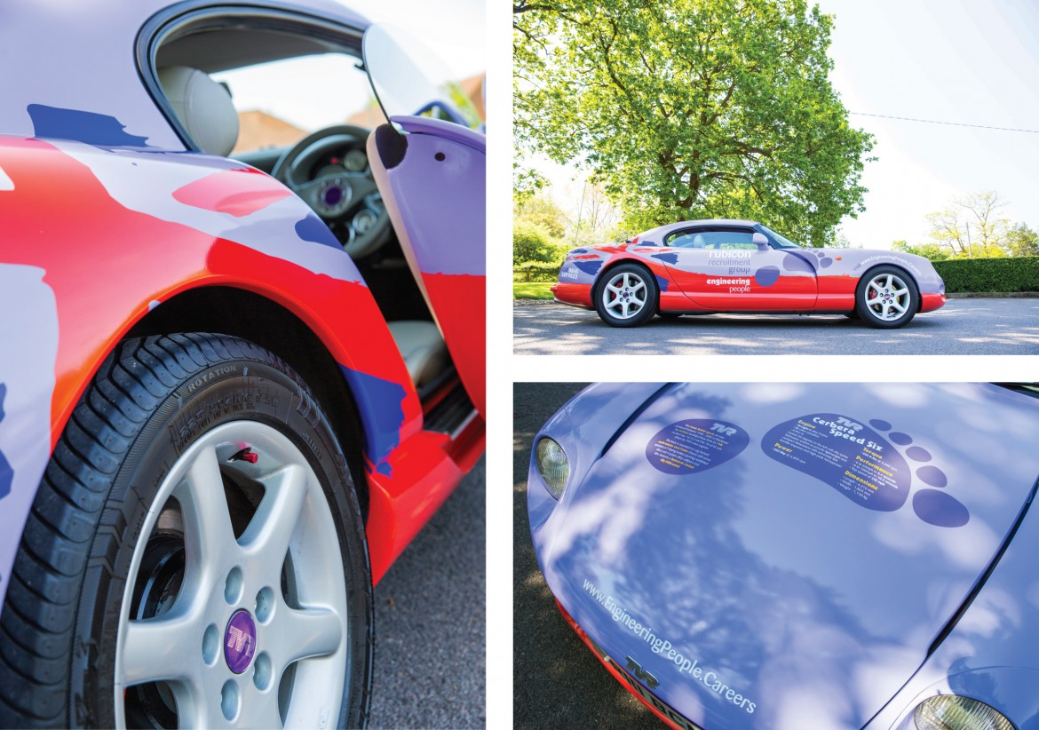 Door sill and bonnet details of digitally printed full wrap applied to Rubicon TVR