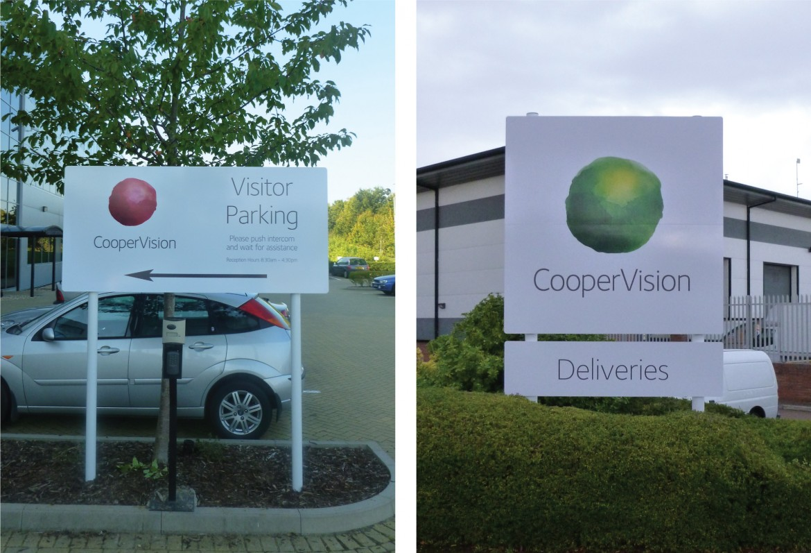 Digitally printed external plate and post signs for Coopervision