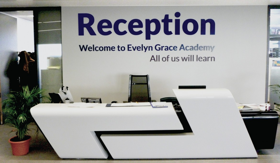 Laser cut acrylic reception sign for the Evelyn Grace Academy