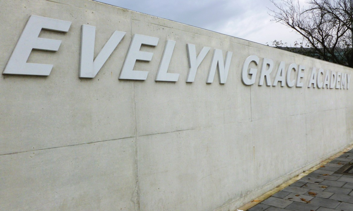 Exterior entrance sign for the Evelyn Grace Academy