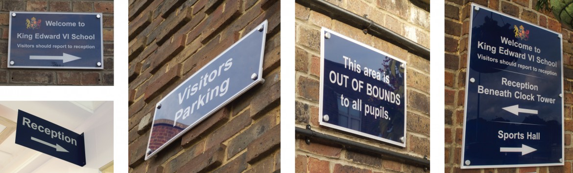 Exterior wayfinding signage for King Edward VI school
