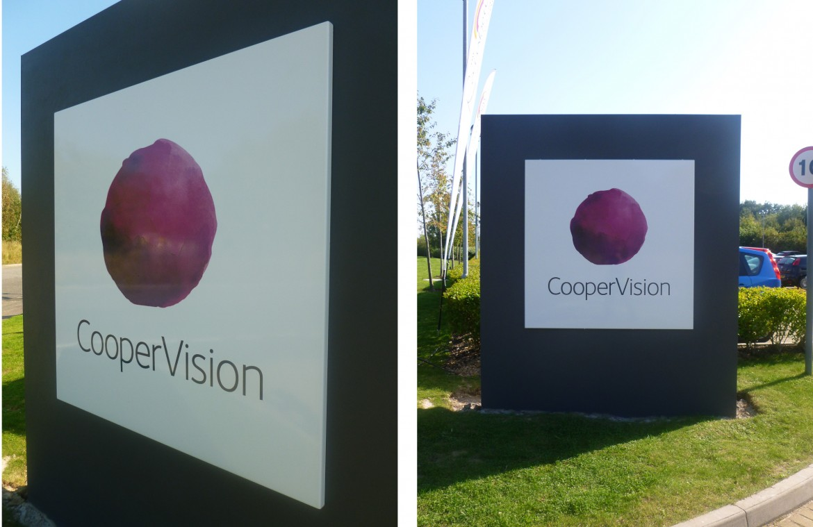 External monolith sign with vitreous enamel for Coopervision
