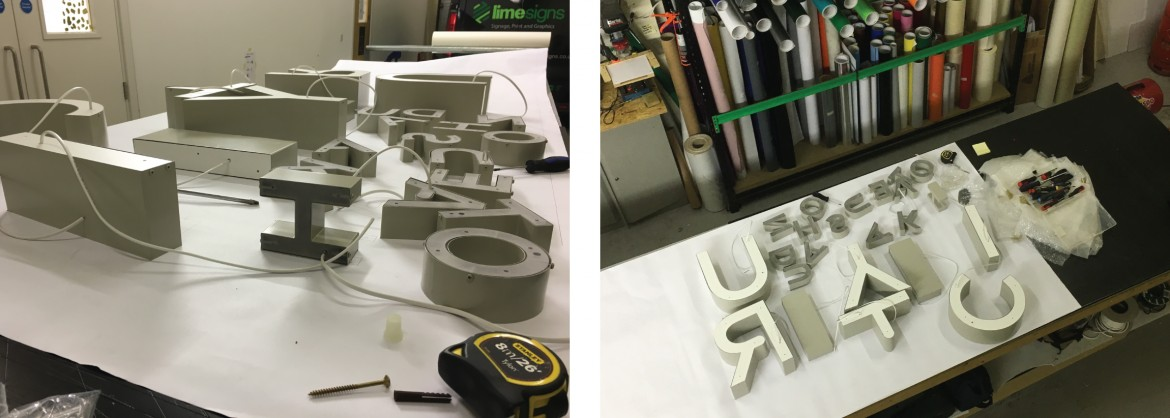 Production of the stainless steel rim and return built up letters for the external signage.