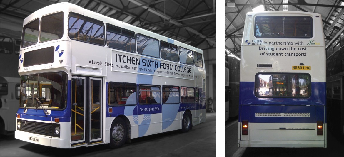 Printed graphics applied to side and rear of Itchen College bus for Xelabus