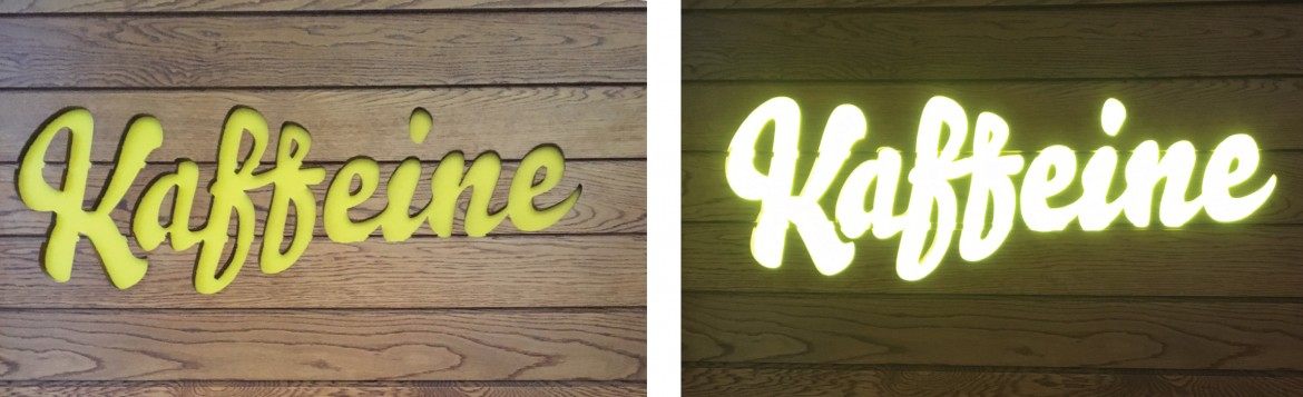 Bespoke interior signage, LED back lit by hidden light box and hand routered from oak panelling