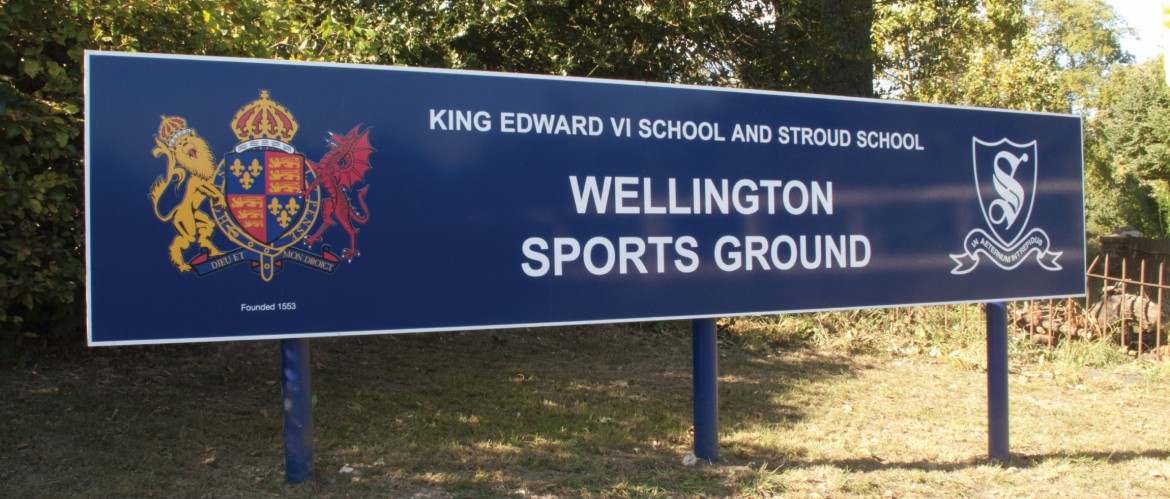 Exterior ground plate and post sign for King Edward School Wellington Sports Ground