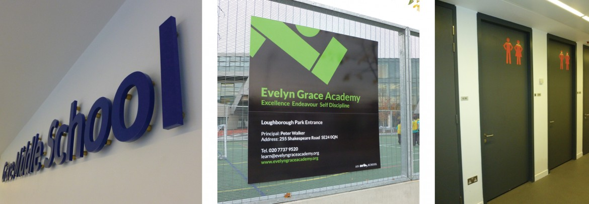 Interior signage, wayfinding and exterior signage for the Evelyn Grace Academy