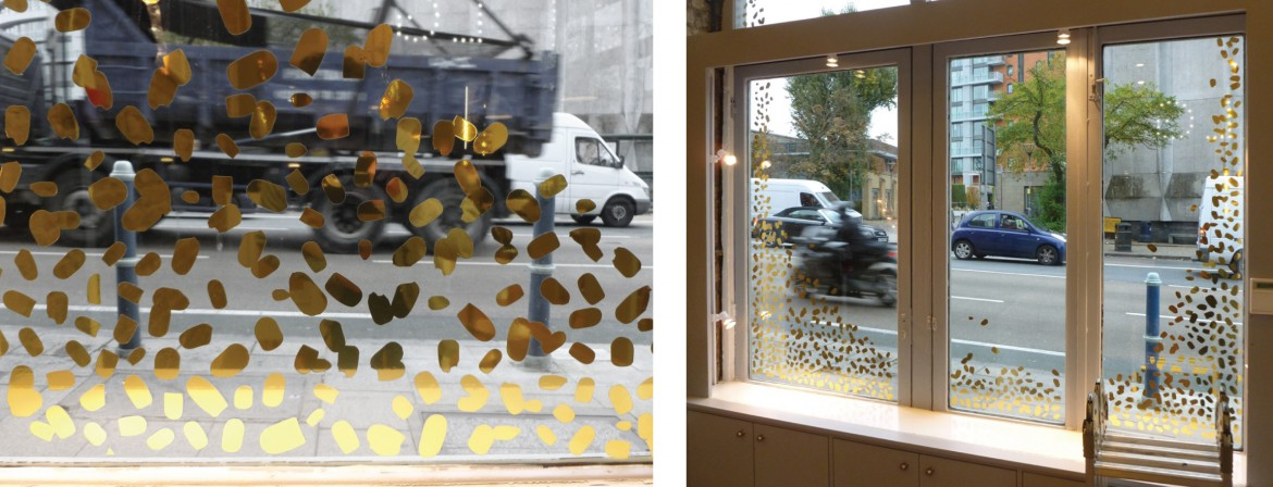 Internal view of double sided cut gold foil window graphics.