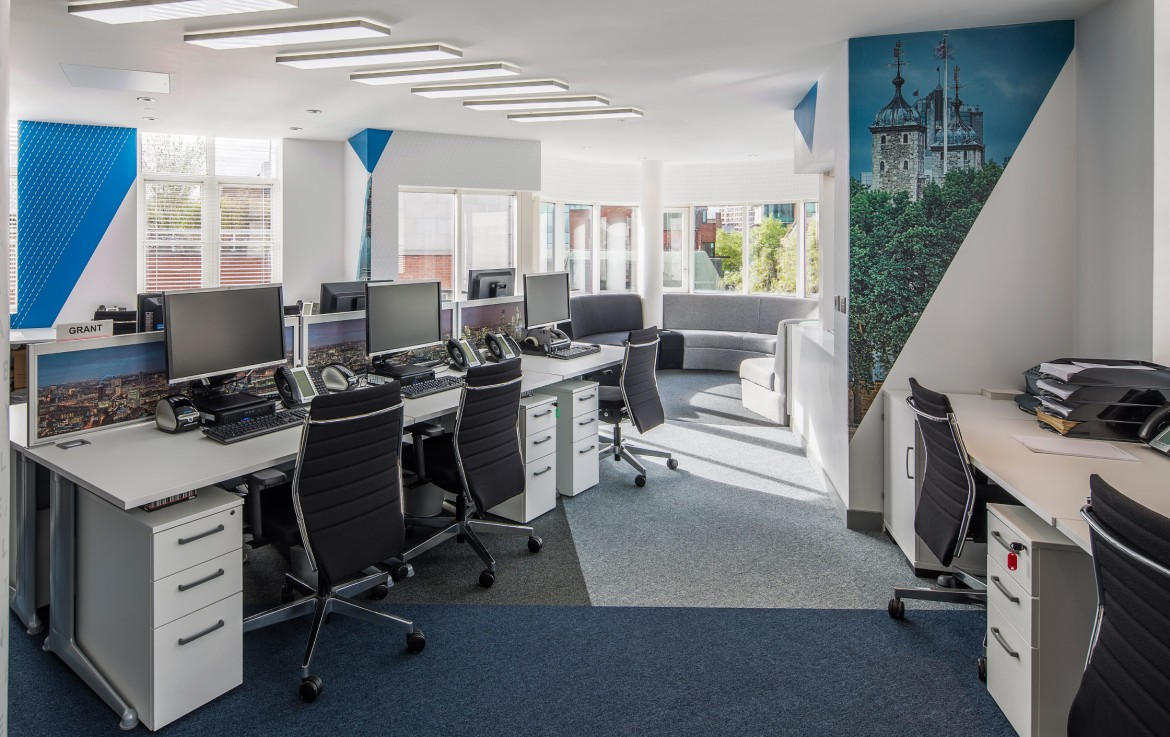 Completed office refurbishment with bespoke lighting, printed Decorbrand wall paper and window film
