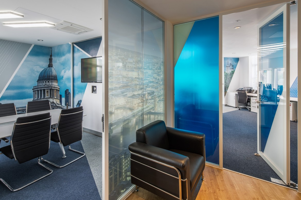 Completed office refurbishment reception area and meeting room with printed window film and wall paper