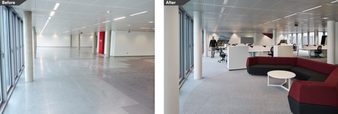 Before and after images of office refurbishment break out space with bespoke furniture