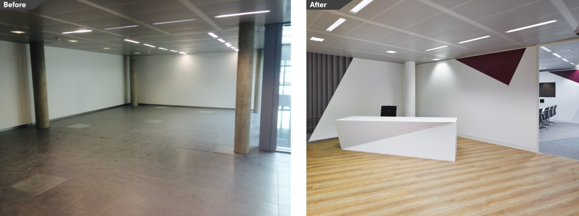 Before and after images reception area and office space. Bespoke reception desk