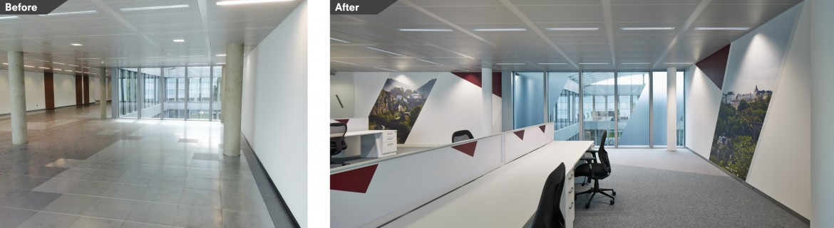 Before and after images office refurbishment with bespoke printed wall paper