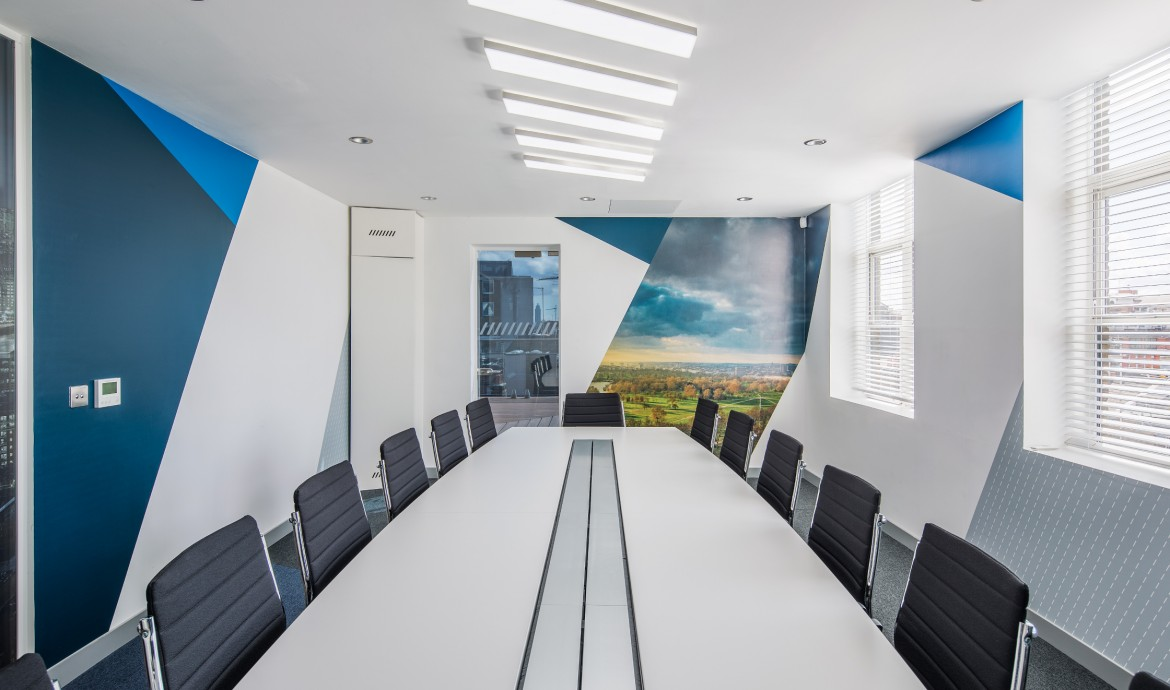 Completed office refurbishment - meeting room with printed Decorbrand wall paper