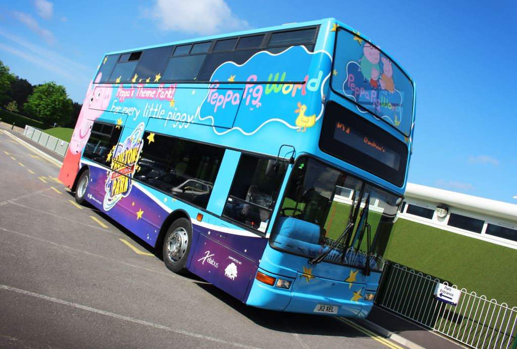Full digitally printed wrap with contra vision applied to Paultons Park Peppa Pig World Bus for Xelabus