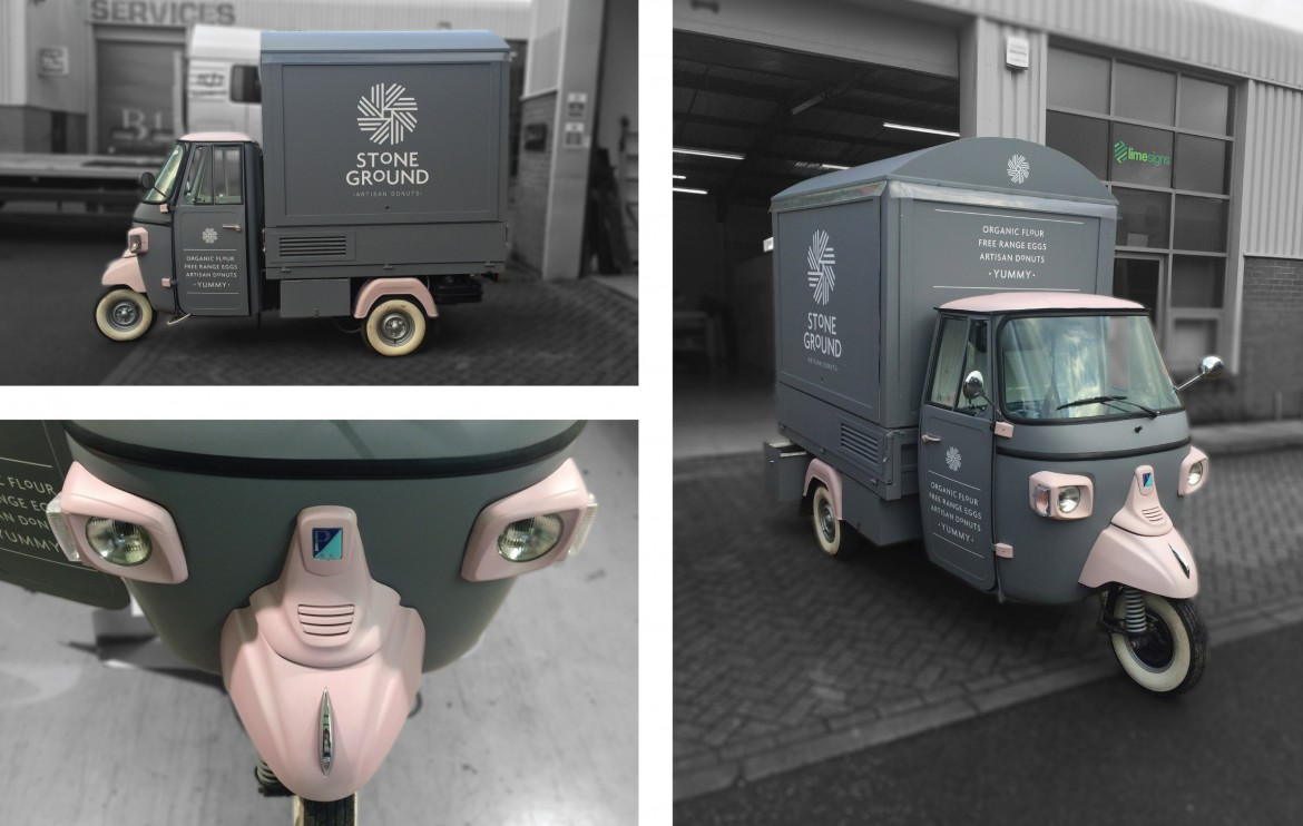 Piaggio ape full colour change wrap including lights and front wheel guard with cut vinyl graphics