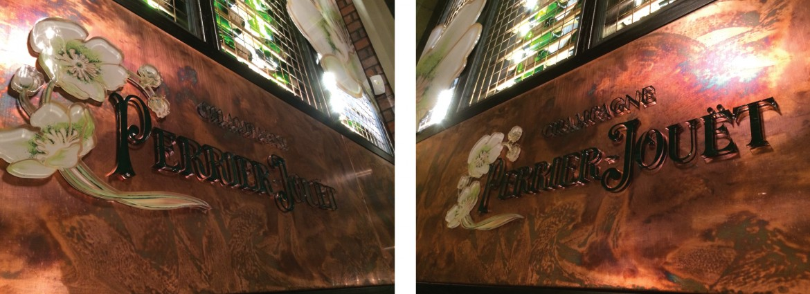 Printed vinyl applied to laser cut acrylic on copper for Perrier Jouet