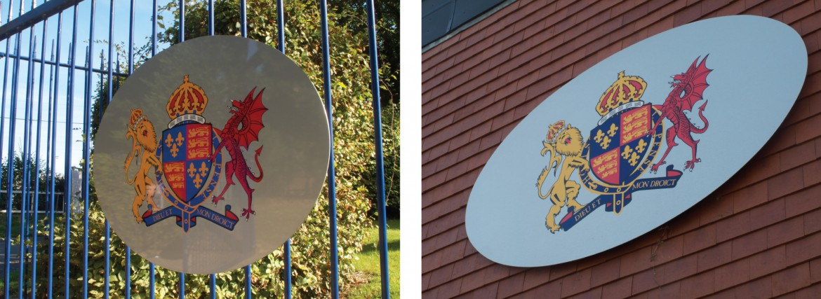 Digitally printed school crest applied to stainless steel