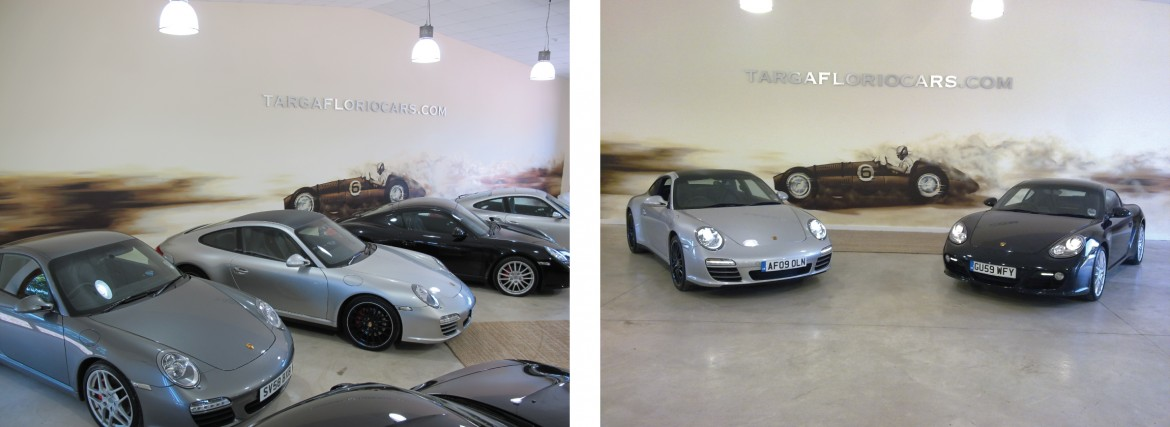 Interior hand painted BRM V16 car mural with laser cut aluminium lettering for Porsche showroom