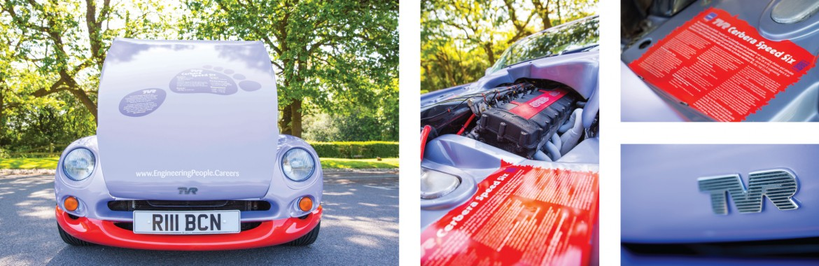 Full colour change wrap and engine bay graphics applied to the Rubicon Recruitment Group TVR