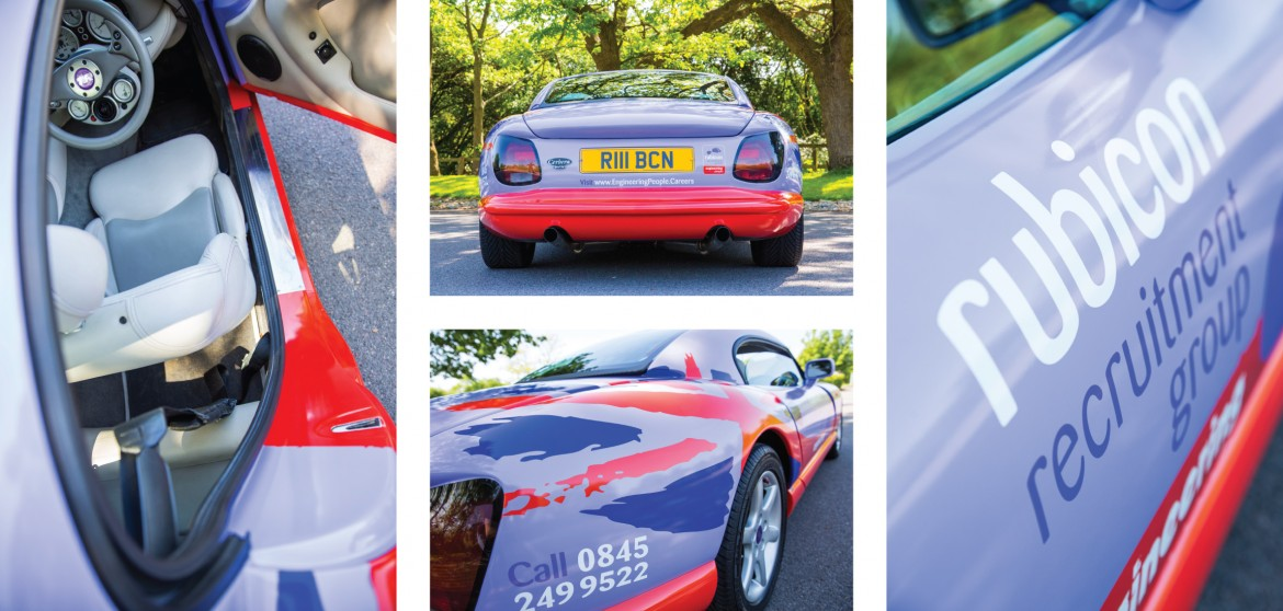 Door sill, rear quarter, side and rear details of full colour wrap for Rubicon TVR