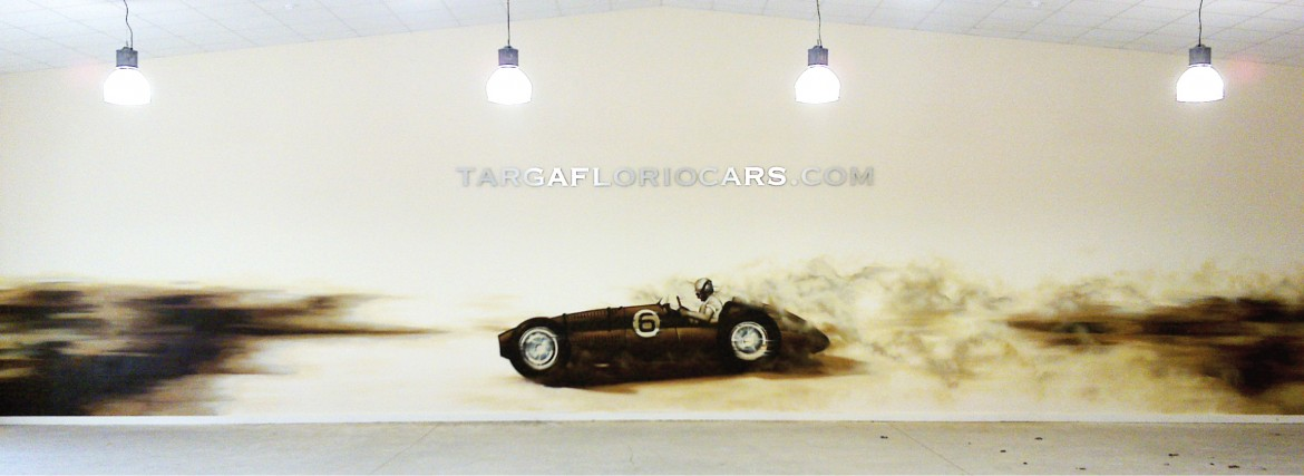 Hand painted mural of BRM V16 for Targa Florio Cars