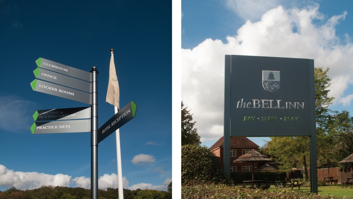 Exterior finger post wayfinding sign and LED lit plate and post sign with push though acrylic