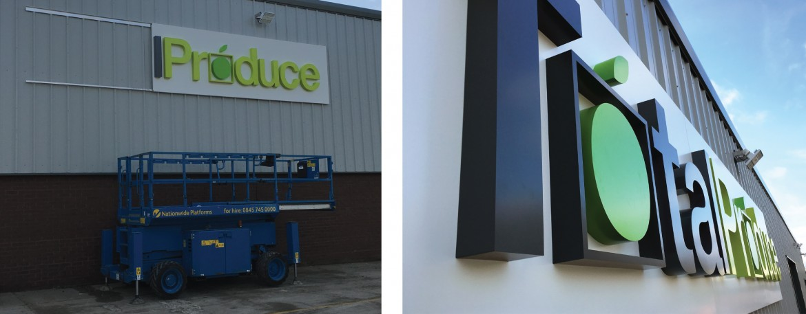 Exterior built up letters wet sprayed to pantone references and lit by trough light.