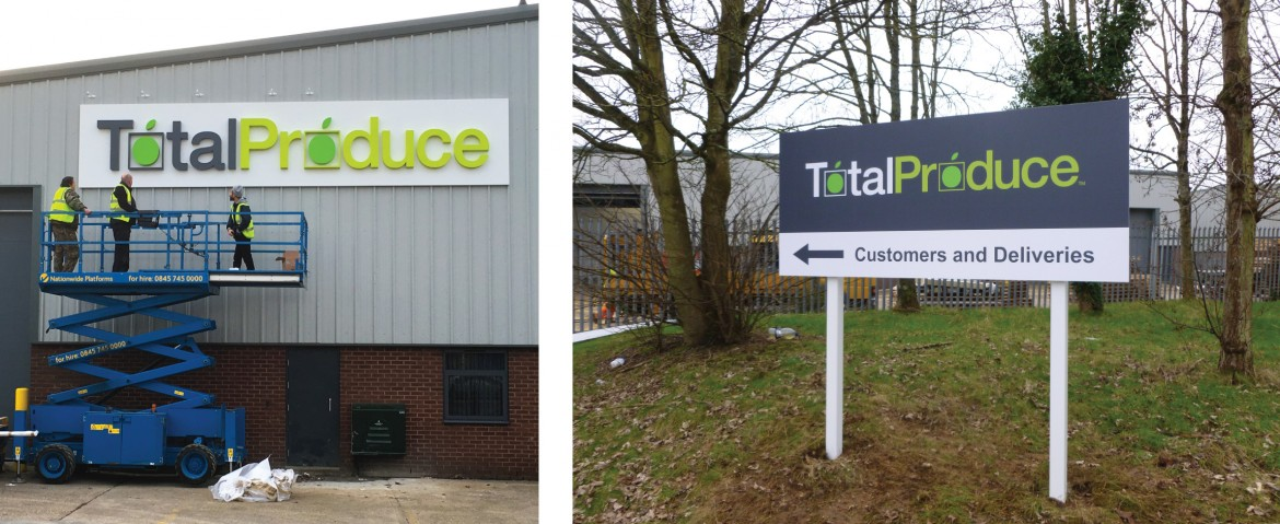Exterior signage - built up letters wet sprayed to pantone references and lit by trough light; plate and post signs.