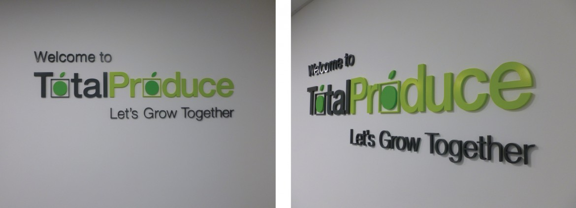 Interior laser cut acrylic wet sprayed letters to pantone references.