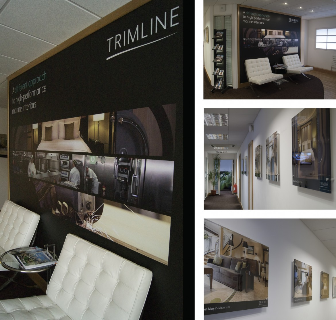Digitally printed Decorbrand fabric backed wall paper and acrylic wall art for Trimline Ltd