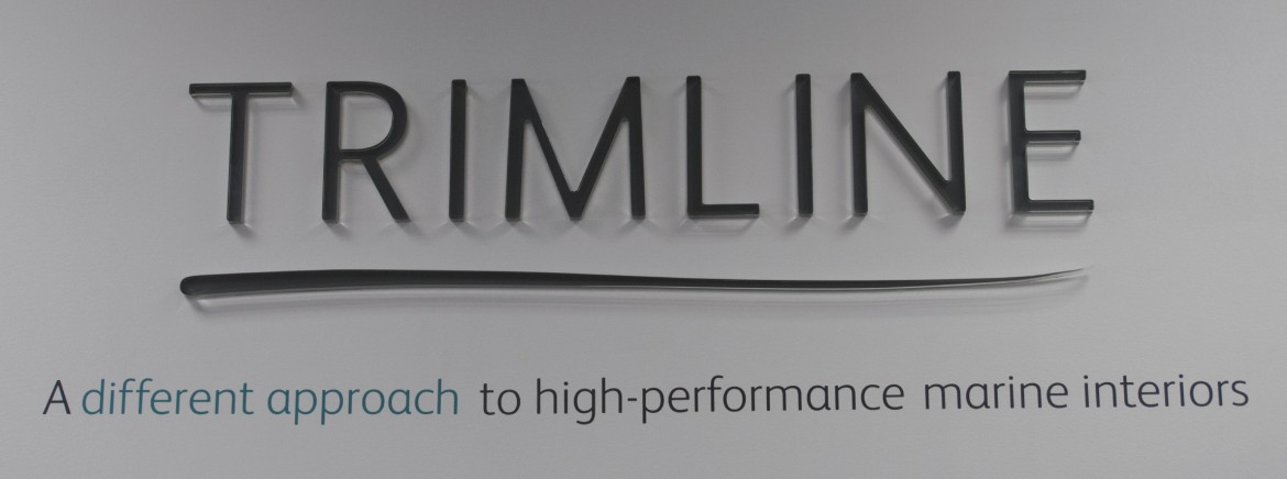 Laser cut acrylic letters backed in cut vinyl for Trimline Ltd