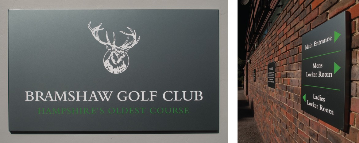 Exterior wall mounted sign tray and wayfinding signage for Bramshaw Golf Club