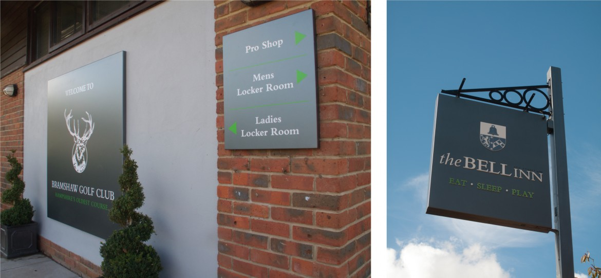 Wall mounted wayfinding signage and projecting logo sign on post
