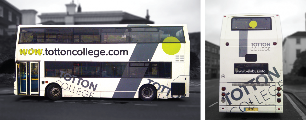 Bus graphics with colour wrap and contra vision for Xelabus Totton College