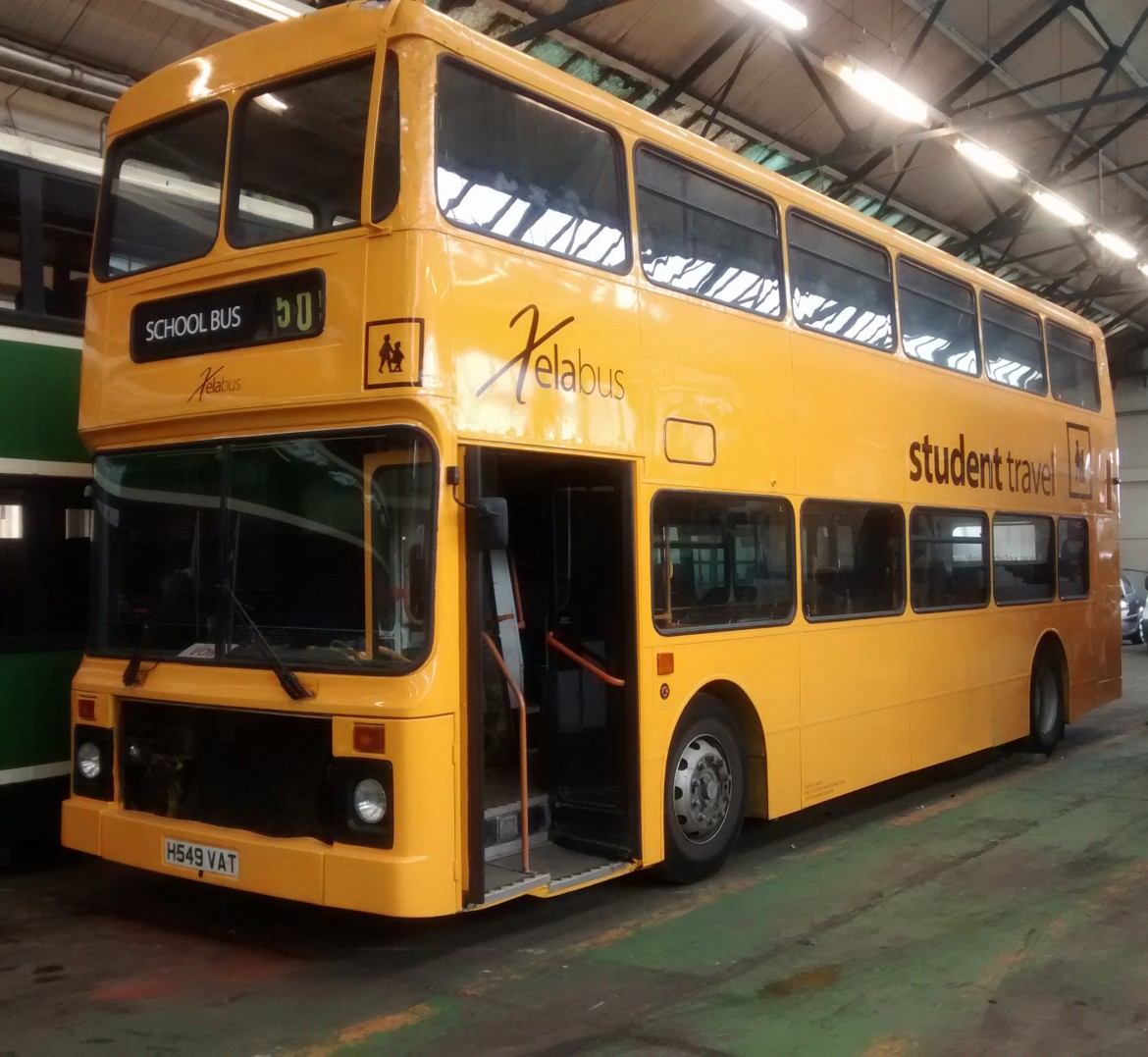 Cut vinyl applied to front, sides and back of bus for Xelabus